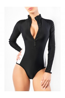 Surf-up Long Sleeve Black&White Bikini Brazilian